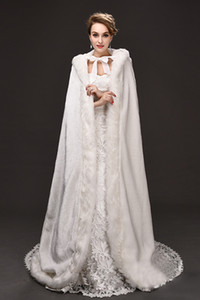 Wholesale perfect flooring resale online - Winter War Faux Fur Bridal Cloak Warm Wraps Hooded Trim Floor Length Perfect Abaya Jacket for Wedding Cape Wraps Jacket CPA915