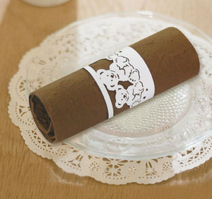 Wholesale 50Pcs Free Shipping New Towel Buckle Laser Cut lovely Bear design Paper Napkin Ring supplies for Wedding Birthday Party Table Decoration