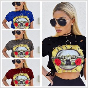 Wholesale Summer Women Sexy Crop Tops Round Neck Sleeve Holes Rose Band Printing Navel Short Guns And Skulls T shirt For Women