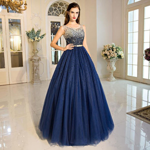 Wholesale 2017 Luxury Navy Blue Sequined Crystal Beading Long Evening Dress Charming Lace Up Ball Gown Prom Party Gown