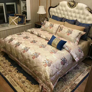 Wholesale luxuary satin cotton yarn fabric with embroidery four pieces bedding set reactive printing process brown blue red color hometextil