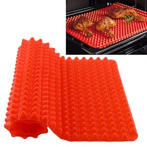 Wholesale- Red Pyramid Pan Nonstick Silicone Baking Mat Mould Cooking Mat Oven Baking Tray