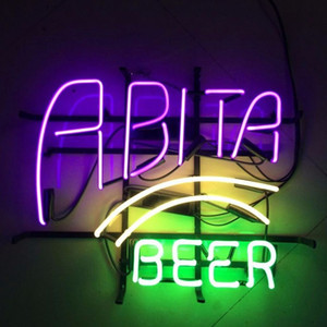 Wholesale RETRO ABITA HANDCRAFTED REAL GLASS TUBE BEER BAR PUB TAVERN NEON LIGHT SIGN WALL DECOR LAMP