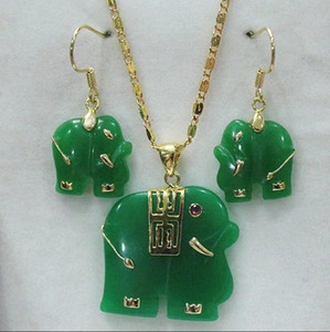 Natural Green Jade Red Jade Carved Elephant Pendant 14K GP Necklace Earrings Set