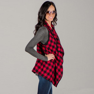 Women Plaids Vests Sleeveless Jackets Spring Autumn Fashion Lapel Thin Coat Checkered Outwear Feminino Tops