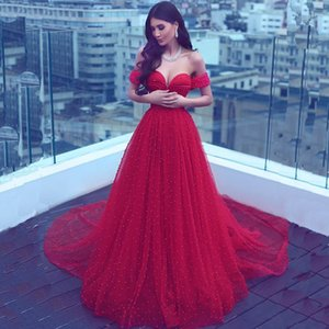 Arabic Style Pearls Red Prom Dresses Long Sweetheart Tulle Long Train Beading Formal Party Dress Pageant Gowns Plus Size on Sale