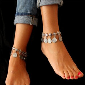 Wholesale Silver Color Bohemian Women Bracelet Metal Sexy Beach Tassel Anklet Luxury Charm Coin Ankle Bracelets Femme Summer Style Jewelry