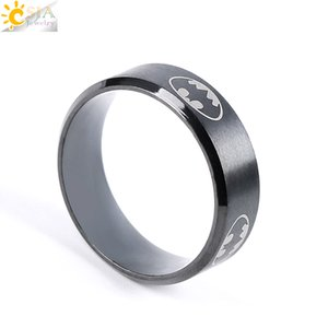 Wholesale CSJA Classic Design Polished Black Titanium Steel Stainless Superhero Batman Symbol Finger Band Rings Jewelry Men Women Sizes Available E677