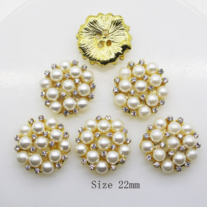 50pcs 22mm Round Rhinestones Pearl Button Wedding Decoration Diy Buckles Accessory Silver Golden