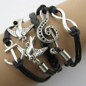 Braided Leather Handmade Bracelet Mutilayer Love Infinity Anchor ID Pearl Bracelets Love Peach Heart Cross Bird Charm Pearl Bracelets New