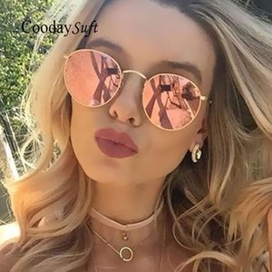 Wholesale Coodaysuft Round Sunglasses Women Fashion Brand Designer Metal Frame Vintage Mirror Pink Sun Retro Glasses Female Rayed UV400