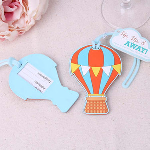 "NEW Balloon Bag Tag Wedding Favors ""Up, Up & Away"" Hot Air Balloon Luggage Tag Rubber Bridal Shower Favor"