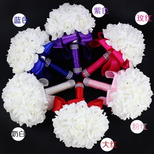 2019 wedding supplies holding flowers pure Handmade Wedding Photo Props bridal bouquet Foam flower with and Ribbon White yellow purple