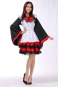 Wholesale cosplay halloween dance wear kimono Vibrating maid witch womens Lolita tower dress red lace dress code