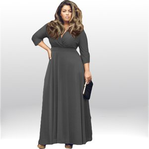 Wholesale L XL Autumn New Women Large Size Fat MM Party dresses vestidos Sexy V neck points sleeve maxi dresses lady Casual floor length dress