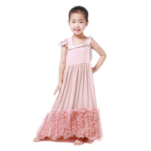 Wholesale New Fashion Girls Maxi Dress Kids Dust Pink Cotton Lace Rose Tulle Tutu Ruffle Dresses Children Party Wedding Dress