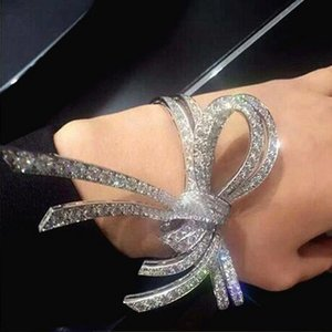 Wholesale New Promotion Trend Baroque Retro Bowknot Bangles Crystal Flower Charms Cuff Open Bracelet Bride Jewelry Love Gift Wrist Band