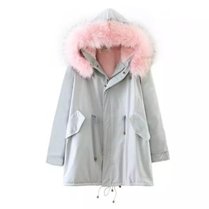 Wholesale Korean version of the female jacket plus cashmere warm thick cotton padded jacket hooded hair collar collar long loose casual clothing C37