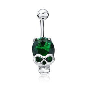 Wholesale Punk Sexy Skeleton Crystal Belly Bars Belly Button Rings Belly Piercing Zircon Body Jewelry Navel Piercing Rings Free Shipping
