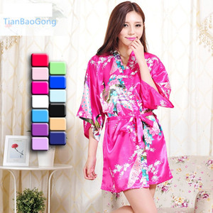 Wholesale free shipping Silk Satin Wedding Bride Bridesmaid Floral Bathrobe Short Kimono Robe Fashion Dressing Gown For Women