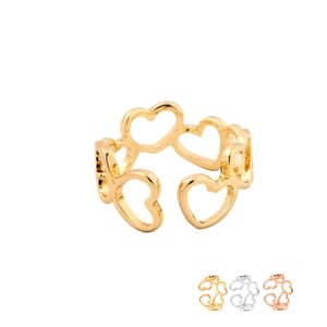 Wholesale peach rings for sale - Group buy Fashion Connected Peach Hearts Ring Adjustable Finger Rings Suit For All Cute Women Ladies Can Mix Color EFR078