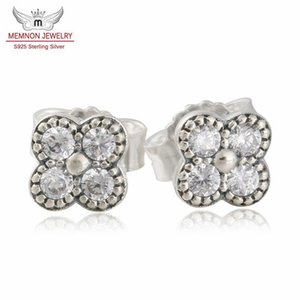 Wholesale Memnon Jewelry Summer Silver Oriental Blossom With Clear Cz Stud Earring For Women Sterling Silver Earring Fashion Jewelry Wholesal