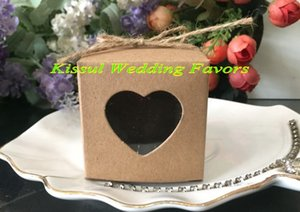 Wedding and Party Gift box of Kraft Paper Love heart Favor box with PVC window For Wedding favors candy box 50Pcs lot Free Shipping