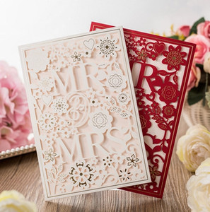 Laser Cut Wedding Invitations Cards White Paper Flowers Mr. & Mrs. Invitaitons Cards 2 Colors Free Envelope and Seal wholesale