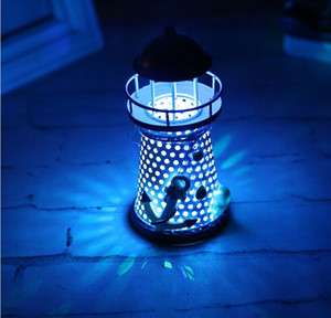 Creative gift Mediterranean iron lighthouse Home Furnishing living room decor lamp electronic bar decoration on Sale