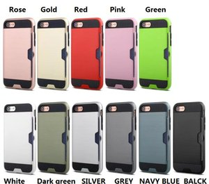 Wholesale Hybrid Armor TPU PC Hybrid Brushed Credit Card Slot case FOR iPHONE s s plus plus HX