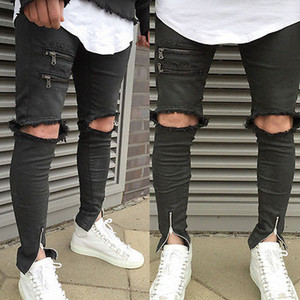 Wholesale new fashion hole hollow out fake zippers Vintage Men s Straight Hole Slim Fit Jeans Black Distressed Ripped Skinny Pants