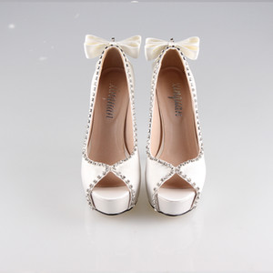Wholesale 2017 Newest Elegant Ivory Color Satin High Heels Bowknot Decoration Peep Toe Party Prom Bridal Wedding Shoes Cinderella Women Shoes