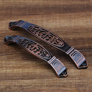 2017 New Ancient carving flower Antique copper Red Bronze Classic cabinet handles kitchen zinc alloy pulls with pitch row 96 128mm#373