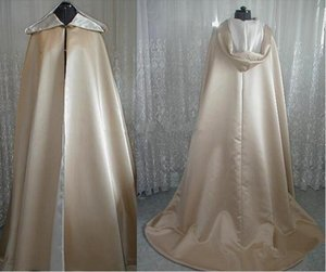 Vintage Design Superior Quality Champagne Satin Hooded Long Length Cloak for Wedding Bride Winter Cape