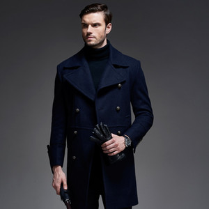 Wholesale- 2016 Winter New Long Men Peacoat Coat Turn Down Collar Black Dark Blue Colors Winter Wool Coat Men