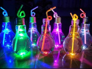 500ml Plastic LED Glowing Light Bulb Milk Beverage Juice Water Bottles Wedding Festival Bar Decoration on Sale