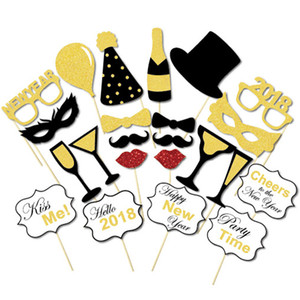 Wholesale 2018 New Year Party Masks Styles Gold Glitter Shinning Mustache Lips Camera Crown Tie Necktie Pipe Wine Slogan Hat Photo Booth Props