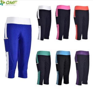Wholesale Quick Drying Womens Running Workout Capris Leggings Black Foldover Sports Crop Tights With Pocket Compression Trouser Length