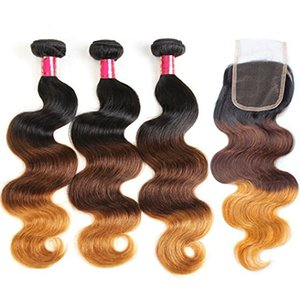 Wholesale 3 bundles with closure 1b 4 27 brazilian human hair 3 tone ombre brown blonde hair extensions hair weave bundles with closure
