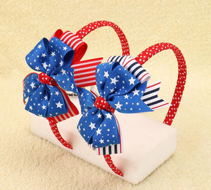 Wholesale DHL FREE the Union Jack Flag Striped Ribbon Plastic Hairband Patriotic Hair Bows For Kids Girls Headbands Children Hair Accessories Colors
