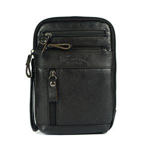 Wholesale Genuine leather small messenger bags for men crossbody shoulder bag ipad mini handbags cowhide chest packs man shoulder bag