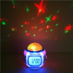 Wholesale Children Room Sky Star Night Light Projector Lamp Bedroom Alarm Clock with Sleeping Music LCD Desktop Calendar Thermometer Birthday Gifts