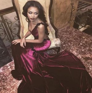 Sexy Open Back Burgundy Wine Red Prom Dresses Sexy 2017 Mermaid V Neck Velvet Satin Long Train Party Evening Gowns Cheap on Sale
