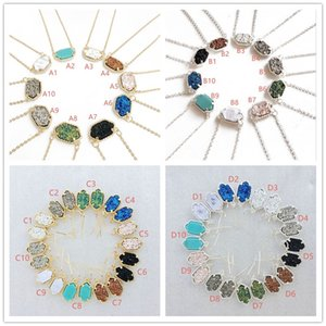 Wholesale Fashion Gold Silver Plated Druzy Earrings Necklace Geometry Gem Stone Drusy Dangle Earrings Necklaces for Women Jewelry
