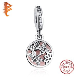 Wholesale BELAWANG New Sterling Silver Beads Butterfly Dragonfly Flower Pink Enamel Charm Fit Pandora Snake Chain Bracelets Necklaces DIY Jewelry