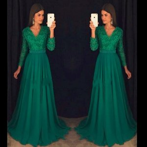 Wholesale Green Lace Long Sleeve Prom Dresses 2017 V Neck Pearls Sexy Open Back Cheap Prom Dress Formal Pageant Gowns
