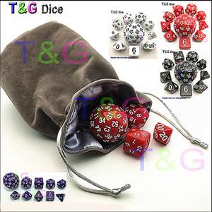 Wholesale 10pc bag Dice Set T&G High quality d4,d6,d8,2xd10,d12,,d20,d24,d30,d60 dice rpg dungeon dragons d&d board game dados