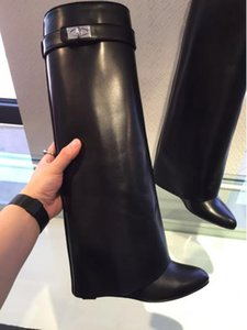 Best-selling Belt Buckle Wedge Boots Women Sexy Pointed Toe Lock Fold Over Knee High Boots Height Increasing Boots size 35-42