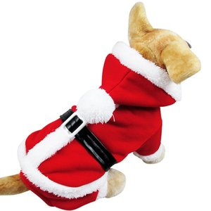 Wholesale Santa Claus Dog Costume Christmas Pet Coat Products With Hat Puppy Dog Cat Supplies Outwear Clothes Red Black Belt Coats