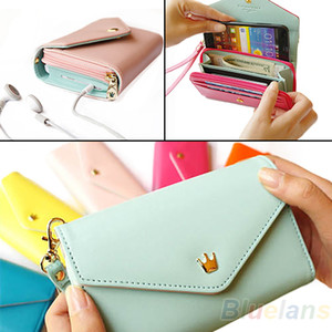 Wholesale- 2013 New Womens Multifunctional Envelope Wallet Coin Purse Phone Case for iPhone 5 4S Galaxy S2 S3 02NO 4OGL
